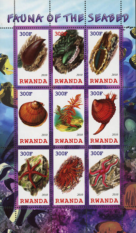 Fauna Of The Seabed Star Seashell Souvenir Sheet of 9 Stamps Mint NH