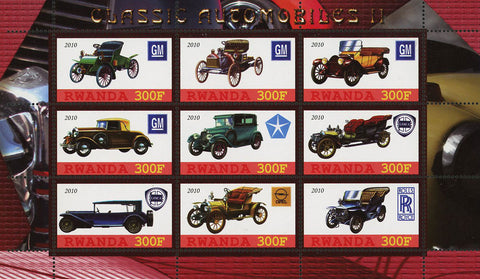 Classic Automobile Roll Royce GM Souvenir Sheet of 9 Stamps Mint NH