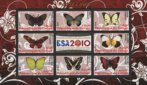 Congo Butterfly Insect Nature Souvenir Sheet of 9 Stamps Mint NH