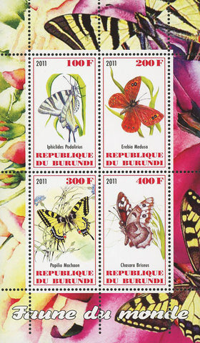 Butterfly Insect Nature Fauna Souvenir Sheet of 4 Stamps Mint NH