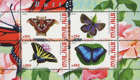 Malawi Butterfly Insect Nature Fauna Souvenir Sheet of 4 Stamps Mint NH