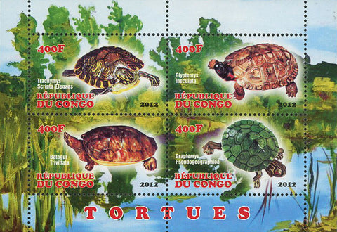 Congo Turtle Lake Reptile Souvenir Sheet of 4 Stamps Mint NH