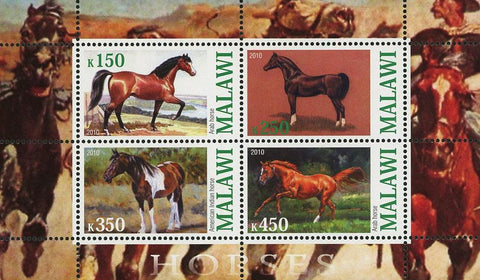 Malawi Horse Domestic Animal Souvenir Sheet of 4 stamps Mint NH