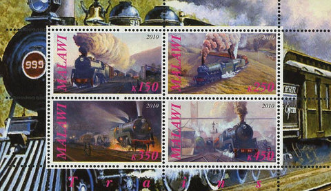 Malawi Locomotive Transportation Train Souvenir Sheet of 4 Stamps Mint NH