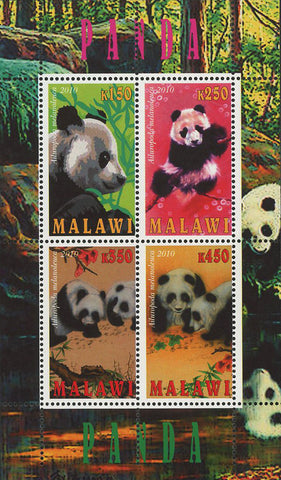 Malawi Giant Panda Bear Nature Souvenir Sheet of 4 Stamps Mint NH