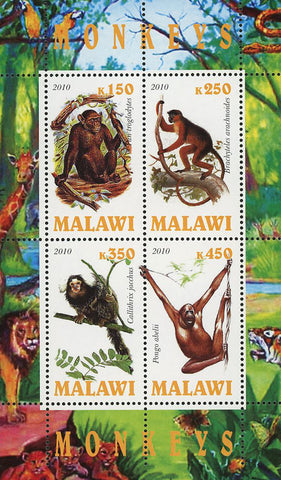 Malawi Monkey Wild Animal Jungle Souvenir Sheet of 4 Stamps Mint NH