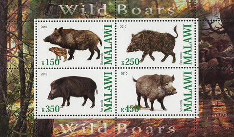 Malawi Wild Boars Forest Animal Souvenir Sheet of 4 Stamps Mint NH