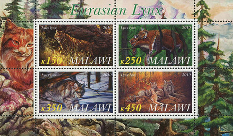 Malawi Eurasian Lynx Wild Animal Nature Souvenir Sheet of 4 Stamps Mint NH