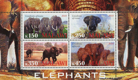 Malawi Elephant Wild Animal Nature Souvenir Sheet of 4 Stamps Mint NH