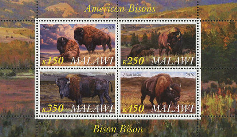 Malawi American Bison Wild Animal Nature Souvenir Sheet of 4 Stamps Mint NH