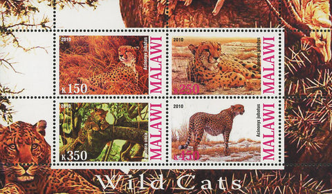 Malawi Wild Cat Animal Nature Souvenir Sheet of 4 Stamps Mint NH