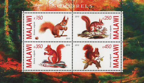 Malawi Squirrel Wild Animal Nature Forest Souvenir Sheet of 4 Stamps Mint NH