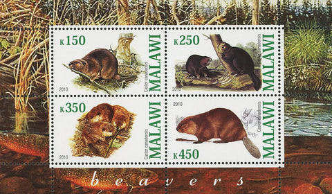 Malawi Beaver Wild Animal Nature Forest Souvenir Sheet of 4 Stamps Mint NH