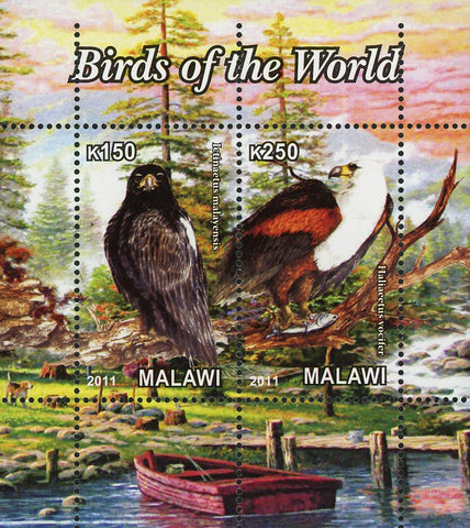 Malawi Birds Of The World Nature Lake Souvenir Sheet of 2 Stamps Mint NH