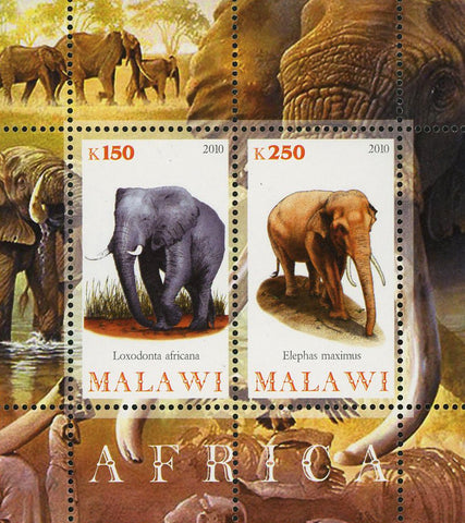 Malawi Africa Elephant Wild Animal Souvenir Sheet of 2 Stamps Mint NH