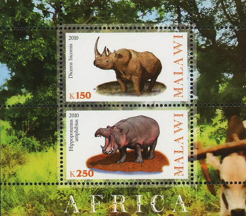 Malawi Africa Rhino Hippo Wild Animal Souvenir Sheet of 2 Stamps Mint NH