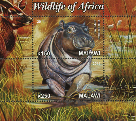 Malawi Wildlife Of Africa Hippopotamus Souvenir Sheet of 2 Stamps Mint NH