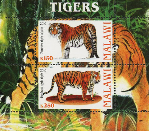 Malawi Tiger Wild Animal Panthera Nature Souvenir Sheet of 2 Stamps Mint NH