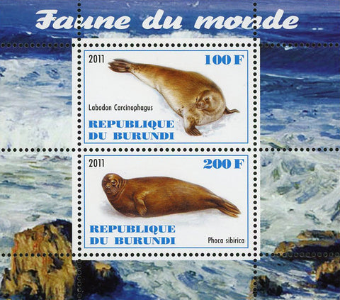 Fauna Of The World Seal Pinniped Souvenir Sheet of 2 Stamps Mint NH