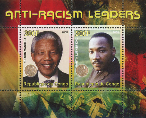 Congo Anti Racism Leaders Mandela Martin Luther King Souvenir Sheet of 2 Stamps