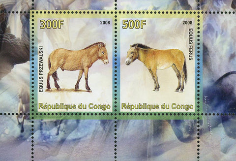Congo Equus Donkey Horse Animal Souvenir Sheet of 2 Stamps Mint NH