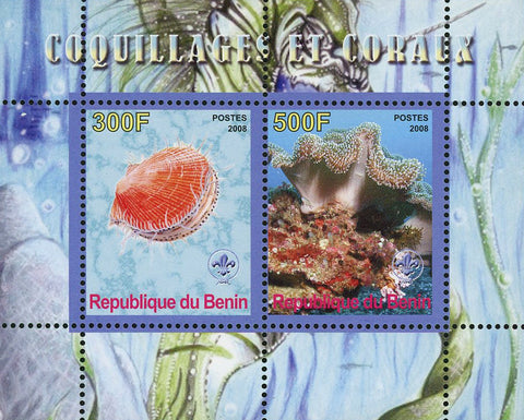 Benin Shell Coral Ocean Life Souvenir Sheet of 2 Stamps Mint NH