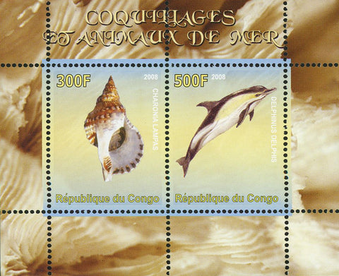 Congo Seashell Sea Animal Marine Ocean Life Dolphin Souvenir Sheet of 2 Stamps M
