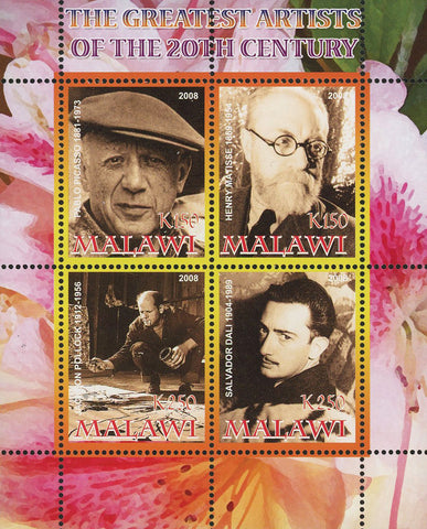 Malawi Greatest Artist 20th Century Famous People Souvenir Sheet of 4 Stamps Min