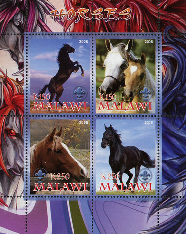 Malawi Horse Domestic Animal Nature Souvenir Sheet of 4 Stamps Mint NH