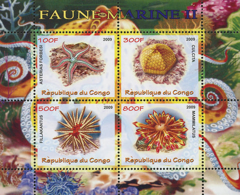Congo Seastar Marine Fauna Ocean Life Souvenir Sheet of 4 Stamps Mint NH