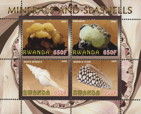 Mineral and Seashell Ocean Life Souvenir Sheet of 4 Stamps Mint NH