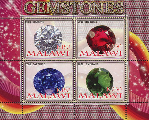 Malawi Gemstones Stone Diamond Rubi Souvenir Sheet of 4 Stamps Mint NH