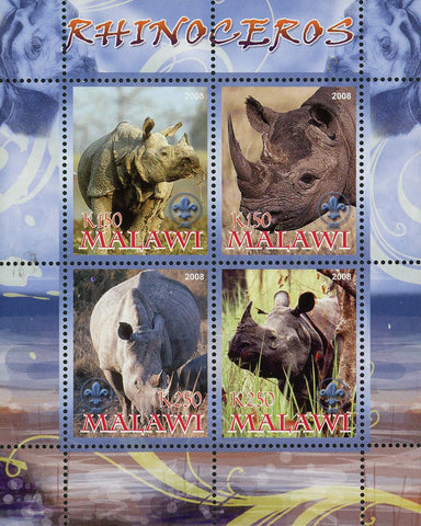 Malawi Rhinoceros Rhino Wild Animal Souvenir Sheet of 4 Stamps Mint NH