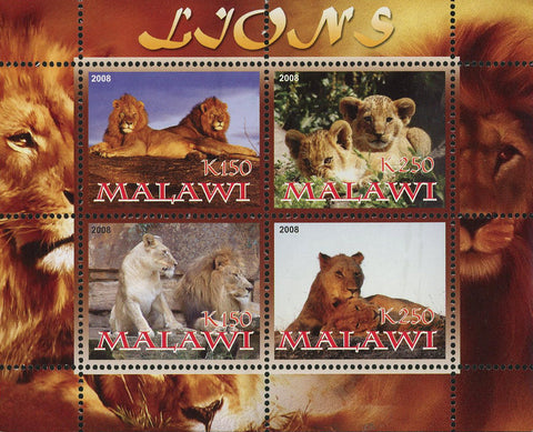 Malawi Lion Panthera Leo Wild Animal Souvenir Sheet of 4 Stamps Mint NH