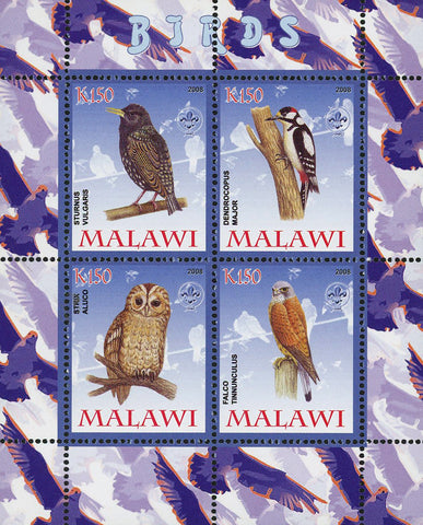 Malawi Bird Owl Falcon Souvenir Sheet of 4 Stamps Mint NH
