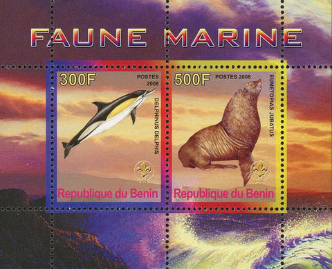 Benin Marine Fauna Dolphin Seal Souvenir Sheet of 2 Stamps Mint NH