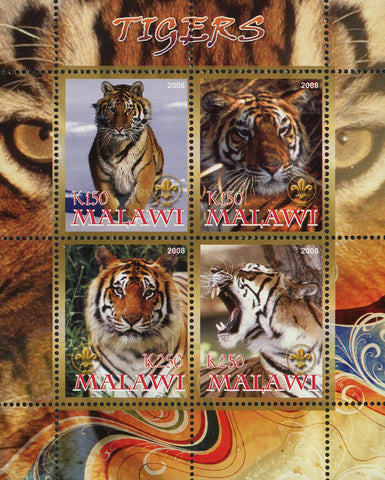 Malawi Tiger Panthera Tigris Wild Animal Souvenir Sheet of 4 Stamps Mint NH