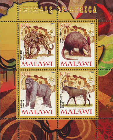 Malawi Animals Of Africa Gorilla Panthera Wild Animal Souvenir Sheet of 4 Stamps