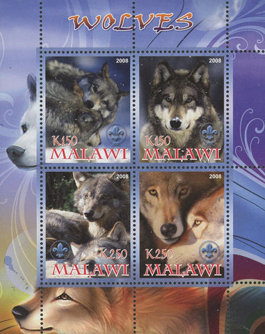Malawi Wolf Wild Animal Nature Souvenir Sheet of 4 Stamps Mint NH