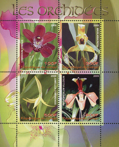 Congo Orchid Flower Plant Nature Souvenir Sheet of 4 Stamps MNH