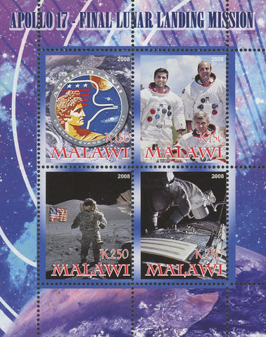 Malawi Apollo 17 Lunar Landing Mission Astronaut Souvenir Sheet of 4 Stamps Mint