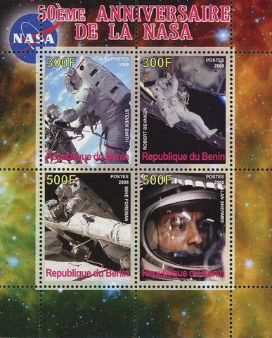 Benin NASA Anniversary Space Astronautic Souvenir Sheet of 4 Stamps Mint NH