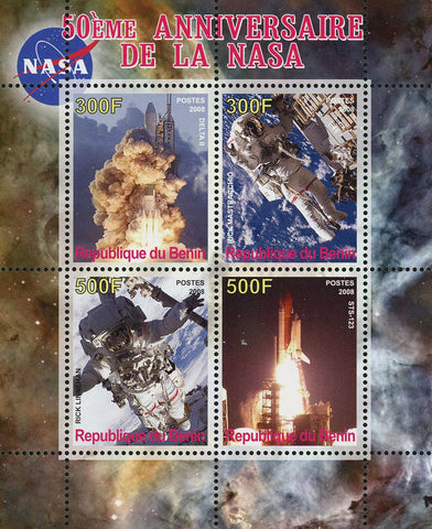 Benin NASA Anniversary Space Astronautic Rocket Souvenir Sheet of 4 Stamps Mint