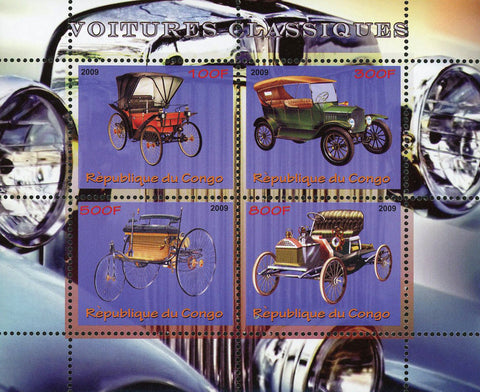 Congo Classic Car Automobile Vintage Transportation Souvenir Sheet of 4 Stamps M