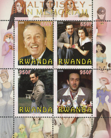 Walt Disney Famous People Souvenir Sheet of 4 Stamps Mint NH
