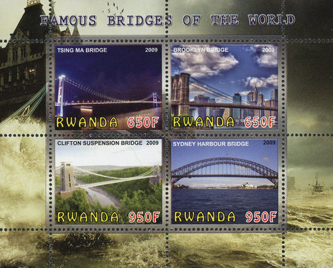 Famous Bridges Of The World Architecture Souvenir Sheet of 4 Stamps Mint