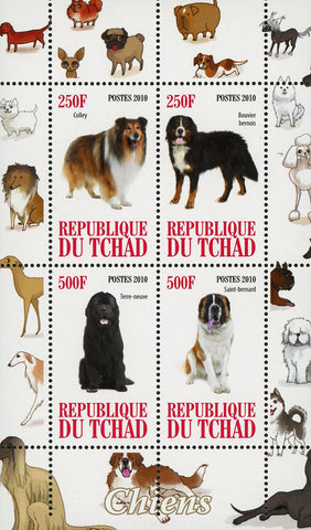 Chad Dog Pet Domestic Animal Colley Souvenir Sheet of 4 Stamps Mint NH