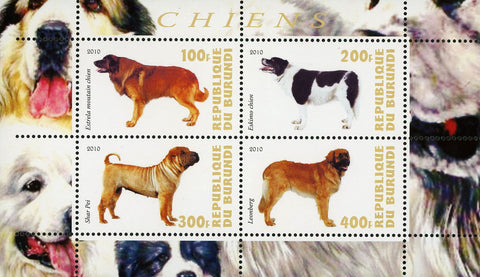 Dog Pet Domestic Animal Leonberg Souvenir Sheet of 4 Stamps Mint NH