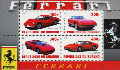 Ferrari Luxury Car Speed Automobile Transportation Souvenir Sheet of 4 MNH