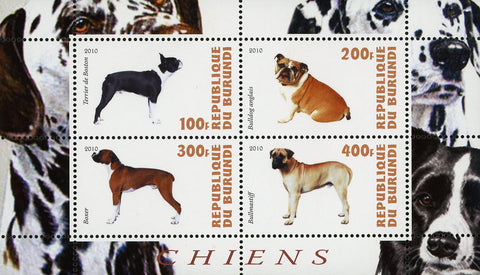 Dog Pet Domestic Animal Boxer Souvenir Sheet of 4 Stamps Mint NH